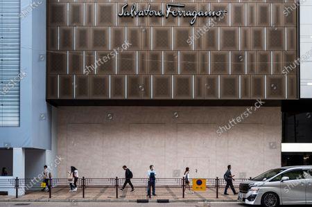 Stock Photo of Italian luxury shoe brand Salvatore Ferragamo store and logo seen in Hong Kong.