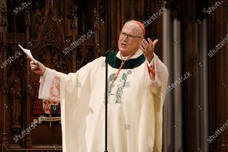 Archbishop of New York, Cardinal Timothy M. Dolan, speaks in the Saint Patrick's Cathedral during a private Mass for invited guests on St. Patricks Day in New York, New York, USA, 17 March 2021.The annual New York City Saint Patrick's Day Parade was again cancelled this year due to the COVID-19 pandemic restrictions.