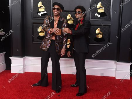 Anderson .Paak, left, and Bruno Mars arrive at the 63rd annual Grammy Awards at the Los Angeles Convention Center on