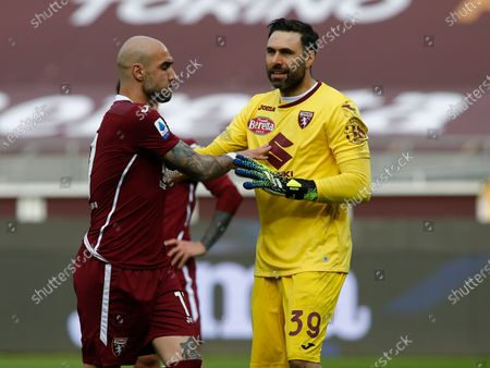 Simone Zaza and Salvatore Sirigu during Serie A match between Torino v Sassuolo in Turin, on March 14, 2021