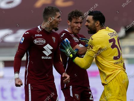 Lyanco, Mërgim Vojvoda and Salvatore Sirigu during Serie A match between Torino v Sassuolo in Turin, on March 14, 2021