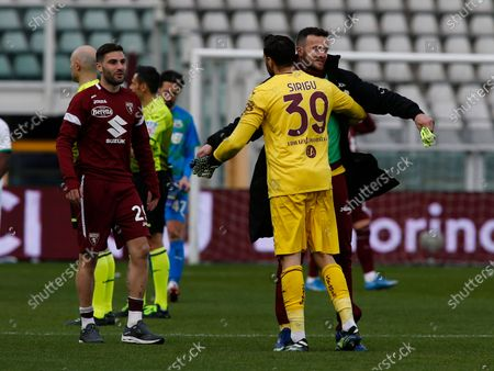 Salvatore Sirigu and Samir Ujkani during Serie A match between Torino v Sassuolo in Turin, on March 14, 2021