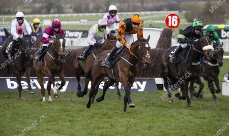 Stock Image of CHELTENHAM. RACE 4 Betway Queen Mother Champion Chase WINNER Put The Kettle On JOCKEY Aidan Coleman TRAINER Henry De Bromhead