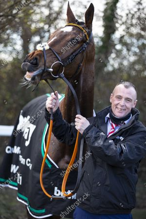 Stock Photo of CHELTENHAM. RACE 4 Betway Queen Mother Champion Chase WINNER Put The Kettle On with Stephen Dunphy of Henry De Bromheads winning stable JOCKEY Aidan Coleman TRAINER Henry De Bromhead