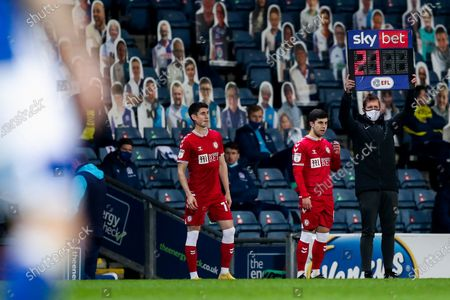 Liam Walsh and Callum O'Dowda of Bristol City come on