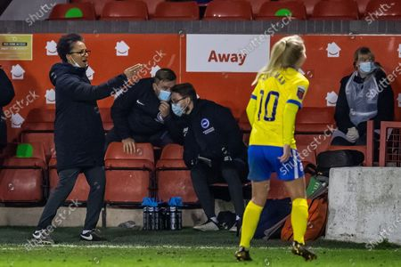 Hope Powell, Manager  of Brighton & Hove Albion women during the FA Women's Super League match between Aston Villa Ladies and Brighton and Hove Albion Women at the Banks's Stadium, Walsall