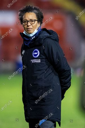 Hope Powell, Manager of Brighton & Hove Albion women before the FA Women's Super League match between Aston Villa Ladies and Brighton and Hove Albion Women at the Banks's Stadium, Walsall