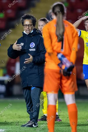 Stock Photo of Hope Powell, Manager of Brighton & Hove Albion women during the FA Women's Super League match between Aston Villa Ladies and Brighton and Hove Albion Women at the Banks's Stadium, Walsall