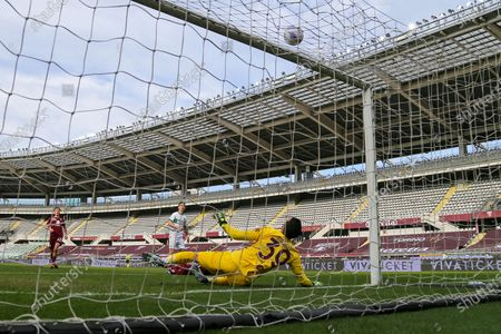 Salvatore Sirigu of Torino FC in action (view from remote camera) during the Serie A football match between Torino FC and US Sassuolo at Olympic Grande Torino Stadium on March 17, 2021 in Turin, Italy. Torino won 3-2 over Sassuolo.