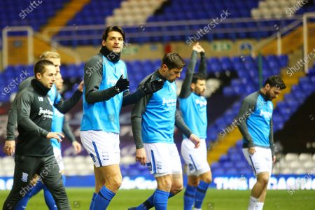 Birmingham City defender George Friend (5) warms up during the EFL Sky Bet Championship match between Birmingham City and Reading at the Trillion Trophy Stadium, Birmingham