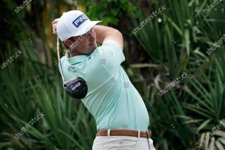 Michael Thompson follows his shot from the second tee during a practice round of the Honda Classic golf tournament, in Palm Beach Gardens, Fla