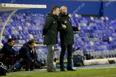 Stock Photo of BIRMINGHMA NEW BOSS LEE BOWYER AND CRAIG GARDNER GESTURES during the EFL Sky Bet Championship match between Birmingham City and Reading at the Trillion Trophy Stadium, Birmingham