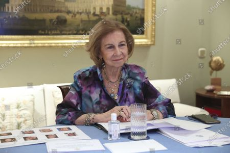 Stock Photo of Former Queen Sofia during the annual meeting by videoconference, with the members and the Board of Directors