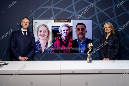 Stock Photo of Princess Beatrix and Princess Mabel during the virtual presention of the 7th Prince Johan Friso Engineering Award. Engineers who distinguish themselves in expertise, innovative capacity, social impact and entrepreneurship are eligible for the annual Prince Johan Friso Engineering Award.