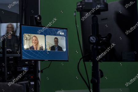 Stock Picture of Princess Beatrix and Princess Mabel during the virtual presention of the 7th Prince Johan Friso Engineering Award. Engineers who distinguish themselves in expertise, innovative capacity, social impact and entrepreneurship are eligible for the annual Prince Johan Friso Engineering Award.