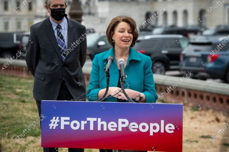 United States Senator Amy Klobuchar (Democrat of Minnesota) offers remarks during a press conference regarding the For The People Act at the U.S. Capitol in Washington, DC,.