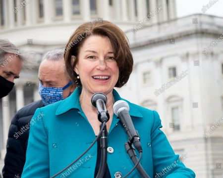 """U.S. Senator Amy Klobuchar (D-MN) speaks at a press conference to announce the introduction of S.1., the """"For the People"""" Act."""