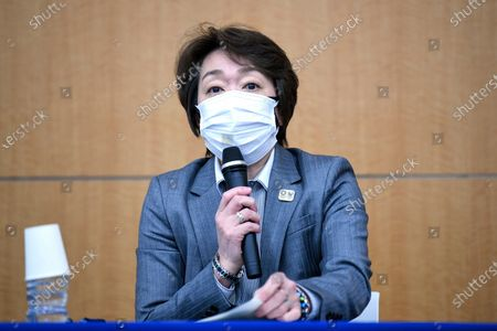 """Seiko Hashimoto, president of the Tokyo 2020 Organizing Committee of the Olympic and Paralympic Games, speaks during a press conference regarding its creative director's comments about a well-known female celebrity, in Tokyo . Tokyo Olympics creative director Hiroshi Sasaki is resigning after making demeaning the comments. Sasaki was in charge of the opening and closing ceremonies for the Olympics, which are to begin on July 23. Last year he told planning staff members that well-known entertainer Naomi Watanabe could perform in the ceremony as an """"Olympig"""