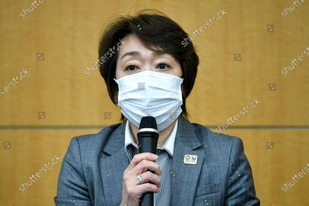 """Seiko Hashimoto, president of the Tokyo 2020 Organizing Committee of the Olympic and Paralympic Games, speaks during a press conference regarding its creative director's comments about a well-known female celebrity, in Tokyo . Tokyo Olympics creative director Hiroshi Sasaki is resigning after making demeaning the comments. Sasaki, who was in charge of the opening and closing ceremonies for the Olympics, told planning staff members last year that well-known entertainer Naomi Watanabe could perform in the ceremony as an """"Olympig"""