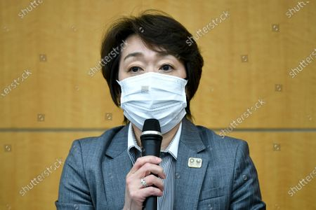 Tokyo 2020 President Seiko Hashimoto speaks during a press conference regarding a Japanese weekly magazine reporting about alleged derogatory comments made by Hiroshi Sasaki, creative director for the Olympic opening and closing ceremonies, in Tokyo, Japan, 18 March 2021. Sasaki quit on 18 March after a magazine reported that he had suggested Japan's plus-size fashion icon Naomi Watanabe to be dressed as a pig during the Olympic opening ceremony.