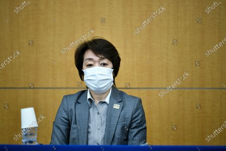 Tokyo 2020 President Seiko Hashimoto looks on during a press conference regarding a Japanese weekly magazine reporting about alleged derogatory comments made by Hiroshi Sasaki, creative director for the Olympic opening and closing ceremonies, in Tokyo, Japan, 18 March 2021. Sasaki quit on 18 March after a magazine reported that he had suggested Japan's plus-size fashion icon Naomi Watanabe to be dressed as a pig during the Olympic opening ceremony.