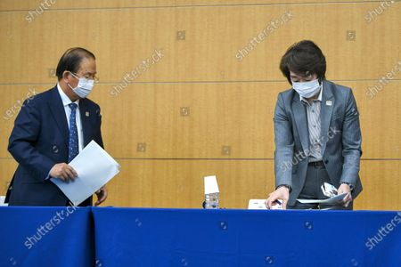 Tokyo 2020 CEO Toshiro Muto (L) and  Tokyo 2020 President Seiko Hashimoto (R) leave a press conference regarding a Japanese weekly magazine reporting about alleged derogatory comments made by Hiroshi Sasaki, creative director for the Olympic opening and closing ceremonies, in Tokyo, Japan, 18 March 2021. Sasaki quit on 18 March after a magazine reported that he had suggested Japan's plus-size fashion icon Naomi Watanabe to be dressed as a pig during the Olympic opening ceremony.