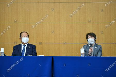 Stock Picture of Tokyo 2020 CEO Toshiro Muto (L) looks on as Tokyo 2020 President Seiko Hashimoto (R) speaks during a press conference regarding a Japanese weekly magazine reporting about alleged derogatory comments made by Hiroshi Sasaki, creative director for the Olympic opening and closing ceremonies, in Tokyo, Japan, 18 March 2021. Sasaki quit on 18 March after a magazine reported that he had suggested Japan's plus-size fashion icon Naomi Watanabe to be dressed as a pig during the Olympic opening ceremony.