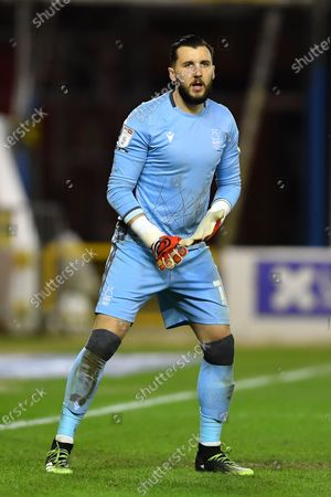 Nottingham Forest goalkeeper Jordan Smith (12) during the Sky Bet Championship match between Nottingham Forest and Norwich City at the City Ground, Nottingham on Wednesday 17th March 2021.