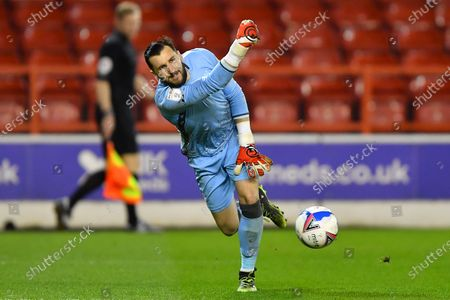 Nottingham Forest goalkeeper Jordan Smith (12) in action during the Sky Bet Championship match between Nottingham Forest and Norwich City at the City Ground, Nottingham on Wednesday 17th March 2021.