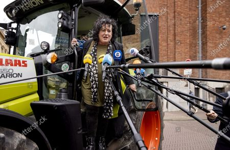 Stock Photo of The Dutch Farmer-Citizen Movement (Dutch: BoerBurgerBeweging, BBB) leader Caroline van der Plas speaks to the media as she arrives at the Binnenhof, in The Hague, The Netherlands, 18 March 2021, the day after the parliamentary elections. The Dutch House of Representatives elections were held on 17 March, the formation discussions to form a government will now take place in the Stadhouderskamer of the Binnenhof government buldings complex.