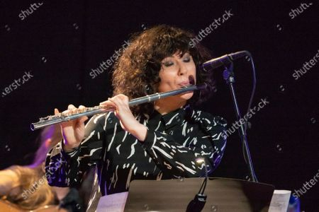 Stock Photo of jazz music Trinidad Jimenez during her performance at the Ellas Crean festival at the Casa de America in Madrid, Spain, on March 17, 2021.