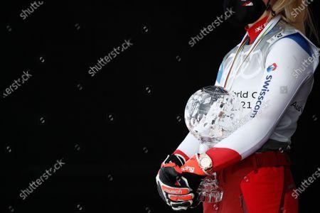 Switzerland's Lara Gut-Behrami, winner of the alpine ski, women's World Cup super G discipline title, celebrates in Lenzerheide, Switzerland