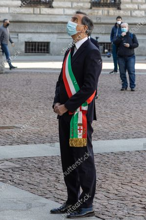 Mayor of Milan Giuseppe Sala during the minute of silence for the National Day in memory of the Covid-19 victims