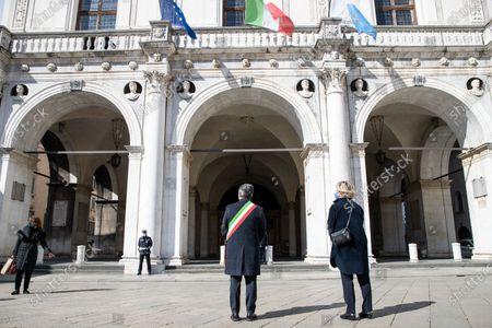 Major of Brescia, Emilio del Bono in Loggia Square in Brescia, Italy on 18 March 2021 attend the first national day in memory of the victims of Covid 19.