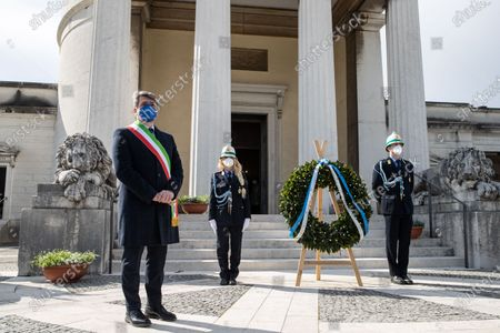 Major of Brescia, Emilio del Bono during the cerimony in Brescia, Italy on 18 March 2021 attend the first national day in memory of the victims of Covid 19.