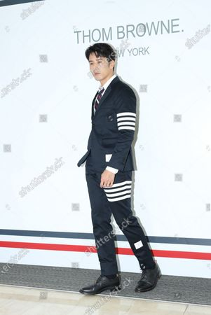 George Hu attends a promotional conference of a brand clothes in Taipei,Taiwan