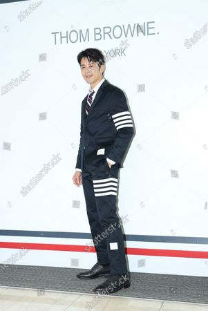 Stock Image of George Hu attends a promotional conference of a brand clothes in Taipei,Taiwan