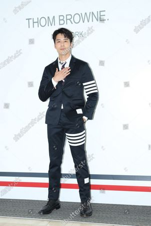 Stock Picture of George Hu attends a promotional conference of a brand clothes in Taipei,Taiwan