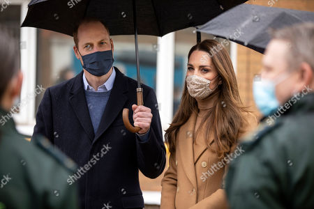 Prince William and Catherine Duchess of Cambridge visit Newham ambulance station in East London. During the visit, The Duke and Duchess met with ambulance staff and paramedics to hear more about their experiences of working during the pandemic and about the mental health and wellbeing support provided at the Station and through the London Ambulance Service.