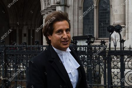 LONDON, UNITED KINGDOM - MARCH 18, 2021: Johnny Depp's barrister David Sherborne leaves the Royal Courts of Justice as he applied for permission to appeal, and to rely on further evidence in a bid to overturn last year's ruling in the libel claim against The Sun and its publisher News Group Newspapers over an article labelling him a wife beater, on 18 March, 2021 in London, England. The ruling by a High Court judge Mr Justice Nicol following a three-week trial in July last year found that the claims in the article were substantially true and that the US actor had assaulted his ex-wife Amber Heard.