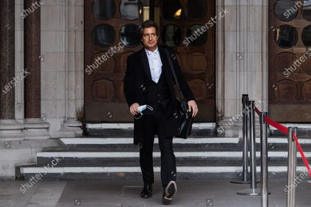 Stock Image of LONDON, UNITED KINGDOM - MARCH 18, 2021: Johnny Depp's barrister David Sherborne leaves the Royal Courts of Justice as he applied for permission to appeal, and to rely on further evidence in a bid to overturn last year's ruling in the libel claim against The Sun and its publisher News Group Newspapers over an article labelling him a wife beater, on 18 March, 2021 in London, England. The ruling by a High Court judge Mr Justice Nicol following a three-week trial in July last year found that the claims in the article were substantially true and that the US actor had assaulted his ex-wife Amber Heard.