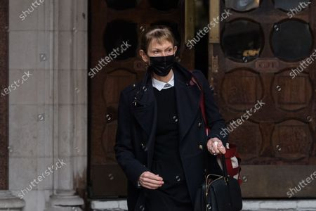 Stock Image of LONDON, UNITED KINGDOM - MARCH 18, 2021: Sasha Wass QC, lawyer for The Sun and News Group Newspapers leaves the Royal Courts of Justice as Johnny Depp's legal team applied for permission to appeal, and to rely on further evidence in a bid to overturn last year's ruling in the libel claim against The Sun and its publisher News Group Newspapers over an article labelling him a wife beater, on 18 March, 2021 in London, England. The ruling by a High Court judge Mr Justice Nicol following a three-week trial in July last year found that the claims in the article were substantially true and that the US actor had assaulted his ex-wife Amber Heard.