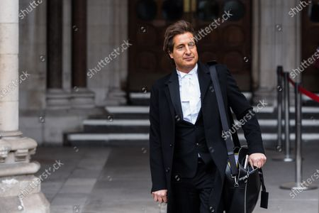 Stock Picture of LONDON, UNITED KINGDOM - MARCH 18, 2021: Johnny Depp's barrister David Sherborne leaves the Royal Courts of Justice as he applied for permission to appeal, and to rely on further evidence in a bid to overturn last year's ruling in the libel claim against The Sun and its publisher News Group Newspapers over an article labelling him a wife beater, on 18 March, 2021 in London, England. The ruling by a High Court judge Mr Justice Nicol following a three-week trial in July last year found that the claims in the article were substantially true and that the US actor had assaulted his ex-wife Amber Heard.