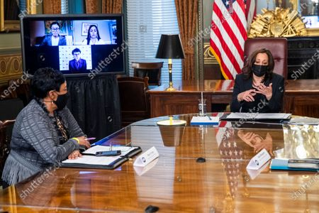 US Vice President Kamala Harris meets with labor leaders in the Vice President's Ceremonial Office in the Eisenhower Executive Office Building in Washington, DC, USA, 18 March 2021. To mark Women's History Month and passage of the American Rescue Plan Vice President Harris met with Randi Weingarten from the American Federation of Teachers, Liz Schuler from the American Federation of Labor and Congress of Industrial Organizations, Becky Pringle, from the National Education Association, Teresa Romero from United Farm Workers, Cindy Estrada from United Auto Workers, Mary Kay Henry from Service Employees International Union and Ai-jen Poo from National Domestic Workers Alliance.