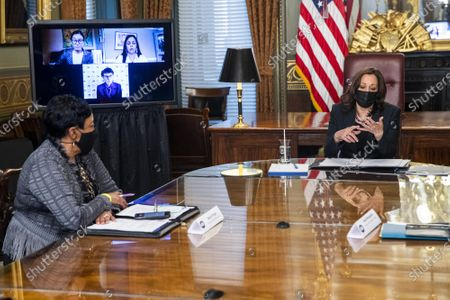 US Vice President Kamala Harris meets with labor leaders in the Vice President's Ceremonial Office in the Eisenhower Executive Office Building in Washington, DC, on March 18, 2021. To mark Women's History Month and passage of the American Rescue Plan Vice President Harris met with Randi Weingarten from the American Federation of Teachers, Liz Schuler from the American Federation of Labor and Congress of Industrial Organizations, Becky Pringle, from the National Education Association, Teresa Romero from United Farm Workers, Cindy Estrada from United Auto Workers, Mary Kay Henry from Service Employees International Union and Ai-jen Poo from National Domestic Workers Alliance.      Photo by Shawn Thew/UPI