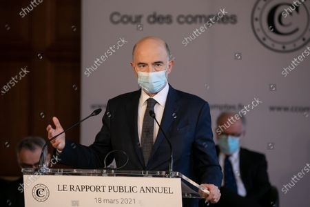 Stock Image of Pierre Moscovici President of the Court of Auditors presents the annual public report 2021