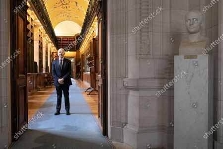 Stock Picture of Pierre Moscovici President of the Court of Auditors poses in the Philippe Seguin gallery before his presentation of the 2021 annual public report
