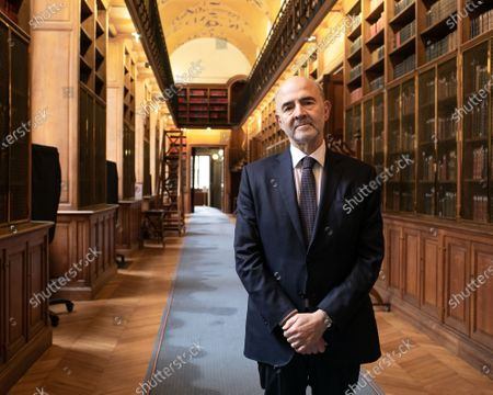 Pierre Moscovici President of the Court of Auditors poses in the Philippe Seguin gallery before his presentation of the 2021 annual public report