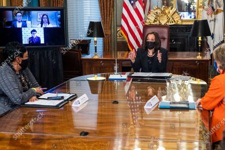 Editorial image of US Vice President Kamala Harris meets with labor leaders, Washington, District of Columbia, USA - 18 Mar 2021