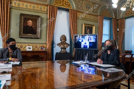 Editorial photo of US Vice President Kamala Harris meets with labor leaders, Washington, District of Columbia, USA - 18 Mar 2021